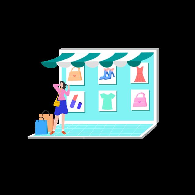 彩色服装店铺装饰图