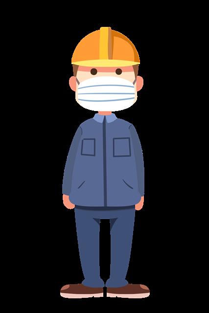 戴口罩的工人插画