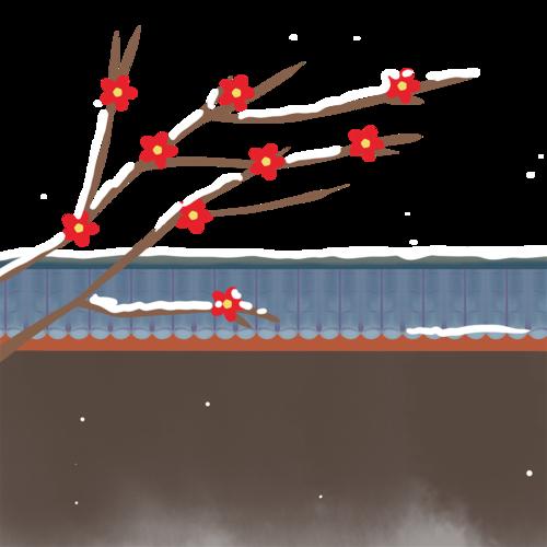 插画风雪景背景图
