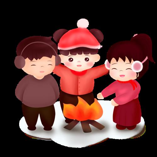冬天烤火人物卡通图