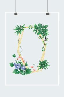 彩绘植物花卉边框