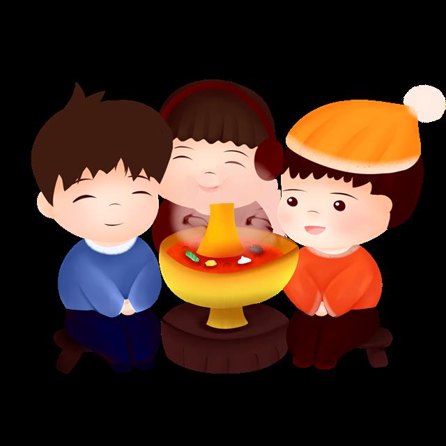 吃火锅卡通插画