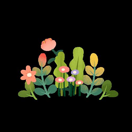 水彩绘绿叶花朵