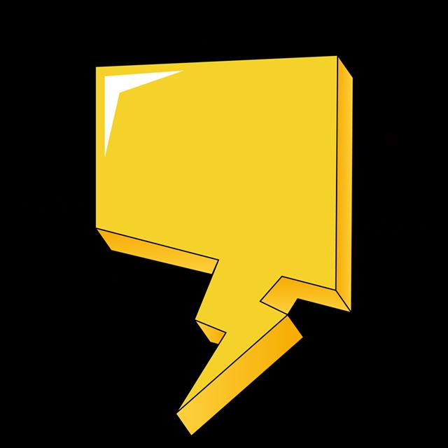 金黄色多边形对话框
