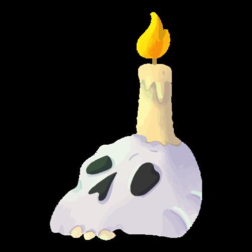 蜡烛骷髅头恐怖效果元素