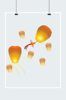 中国结孔明灯漂浮元素