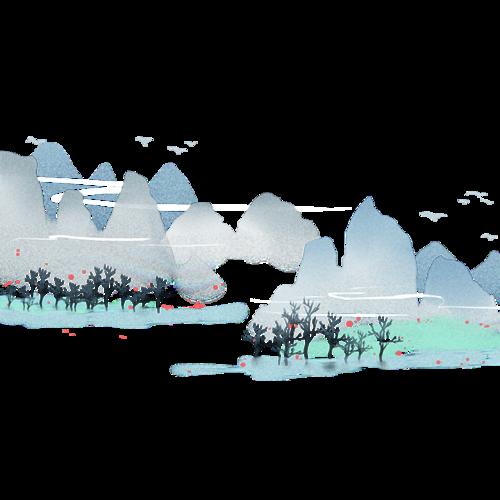 高山流水风景画