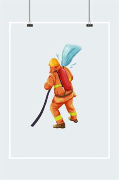 消防员救火简笔画