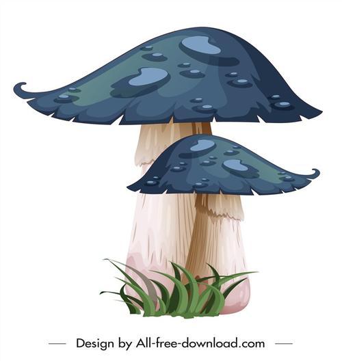 卡通蓝色蘑菇