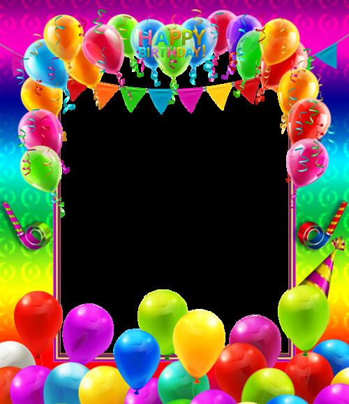 彩色气球生日派对边框