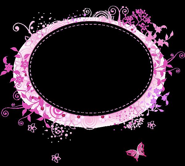 粉色海棠花苞花环边框