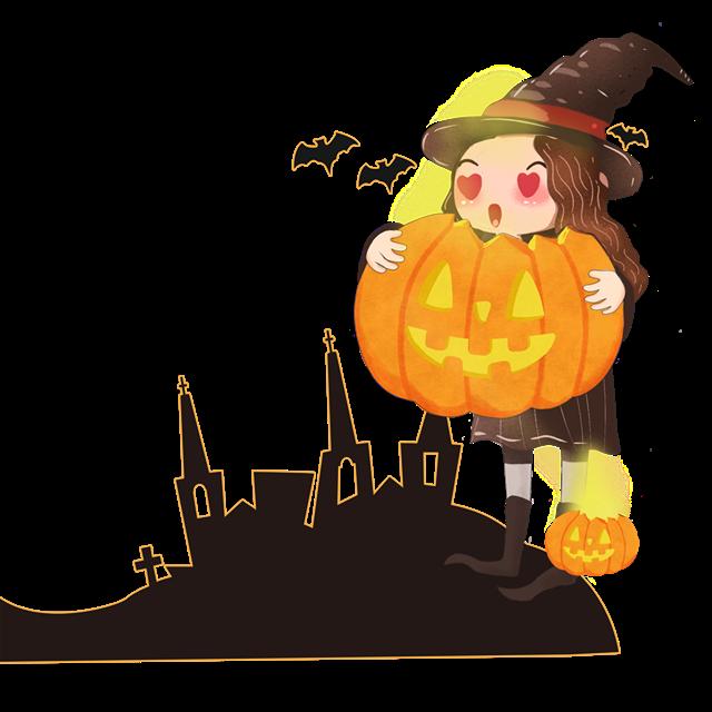 万圣节女巫城堡插画