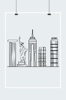 城市建筑线条剪影