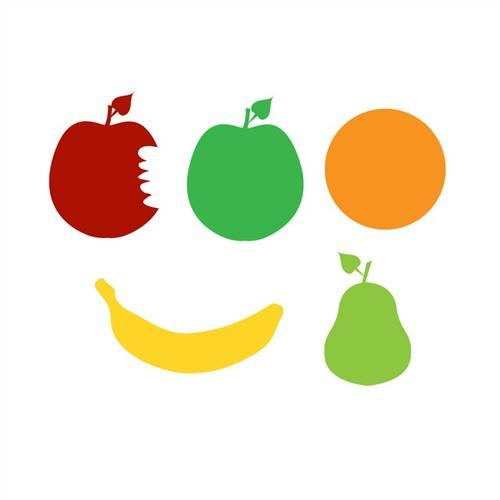 彩色水果剪影