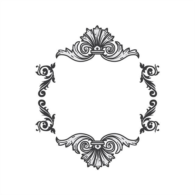 黑白圆形花纹矢量图