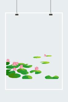 水彩手绘夏日荷花