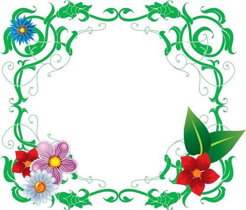 绿色花草边框