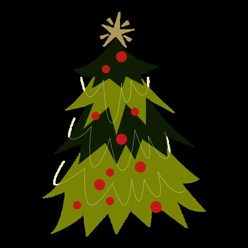 彩绘绿色圣诞树
