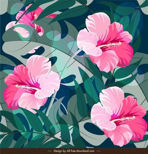 清新彩绘植物花卉矢量背景