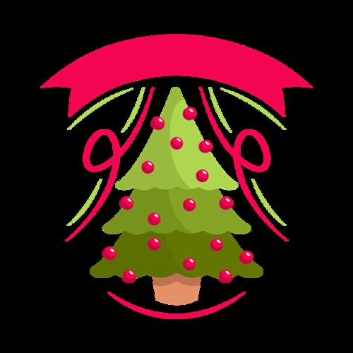 手绘绿色圣诞树