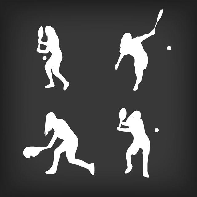 打网球人物剪影