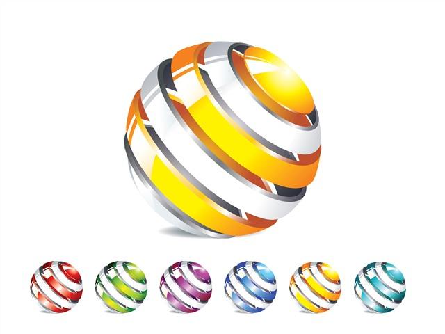 彩色圆球矢量图