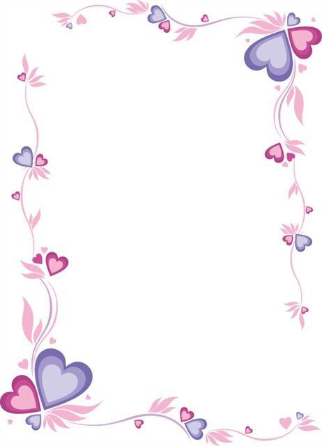 粉紫色爱心花纹边框