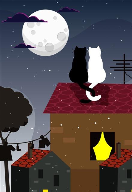 卡通屋檐上的猫咪插画壁纸