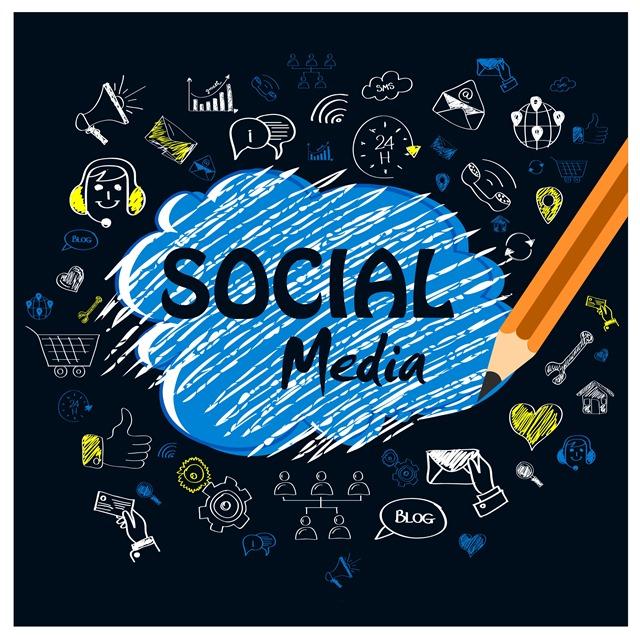 社交媒体素描文字符号图标