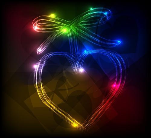 爱心霓虹灯装饰素材