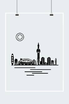 线描城市风景图