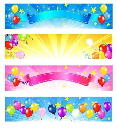 彩色生日派对横幅背景