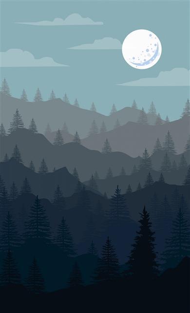 扁平化自然风景插画