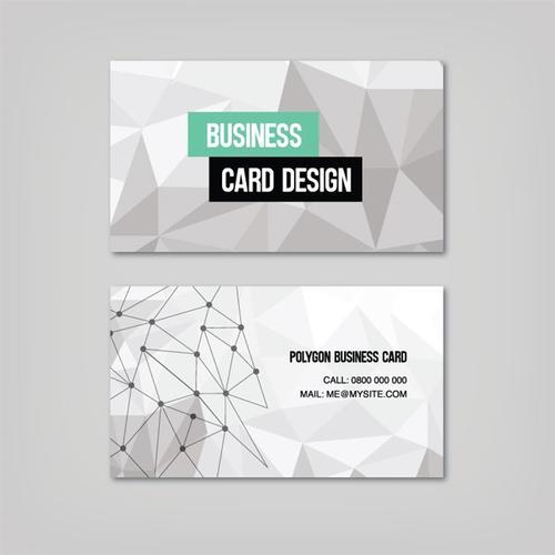 灰白几何图案商务名片设计