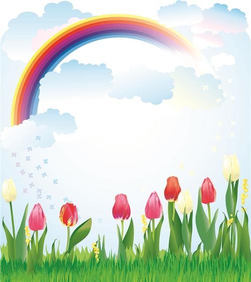 卡通彩虹植物海报背景图
