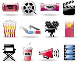 电影院卡通图标元素