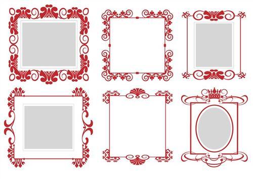 红色花纹边框图片