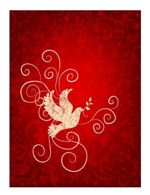 中国风红色花纹背景图