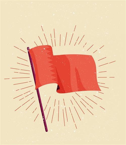 手绘小红旗