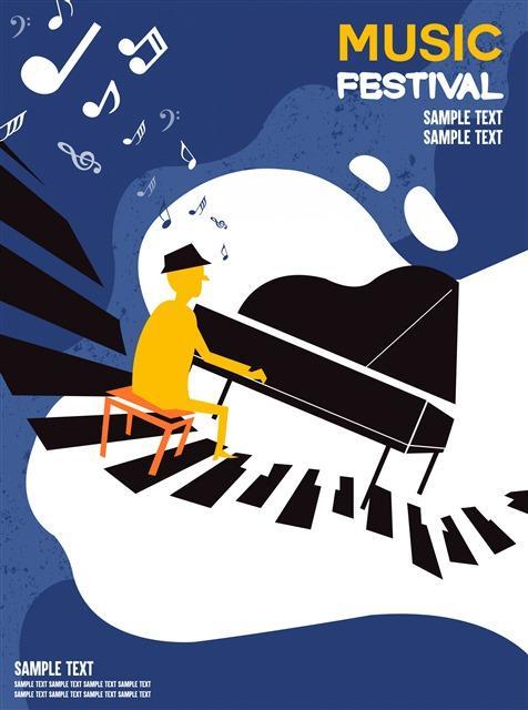 卡通音乐节弹钢琴插画