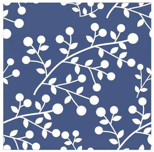 蓝色植物无缝背景图