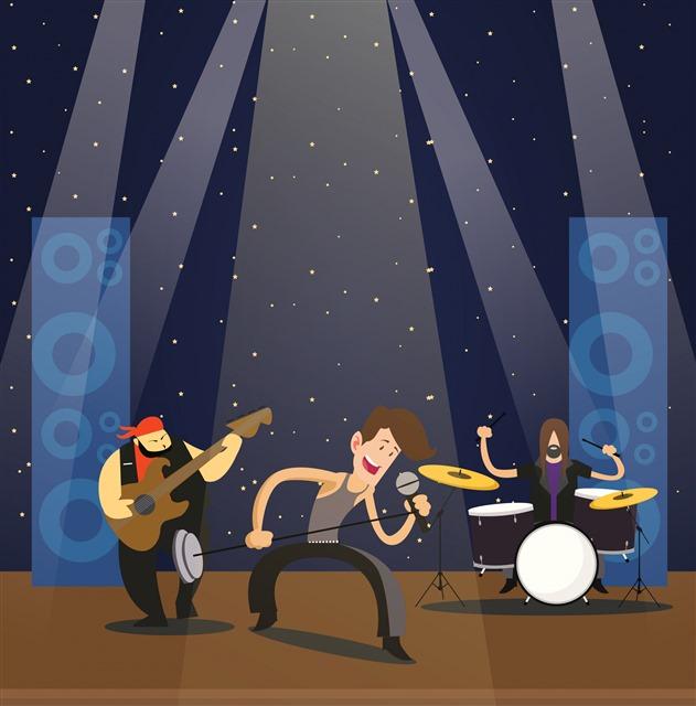 卡通乐队手绘图片