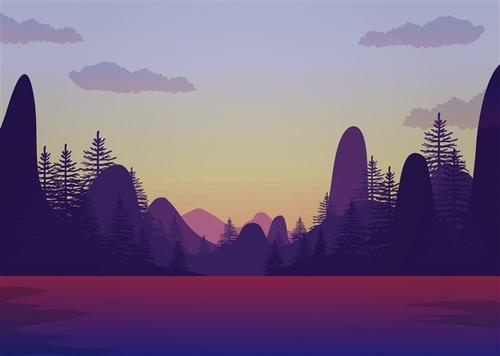 扁平风山水风景插画