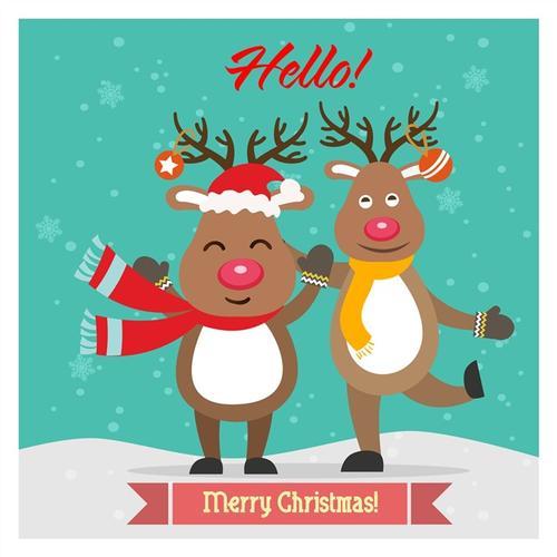 圣诞麋鹿插画图片