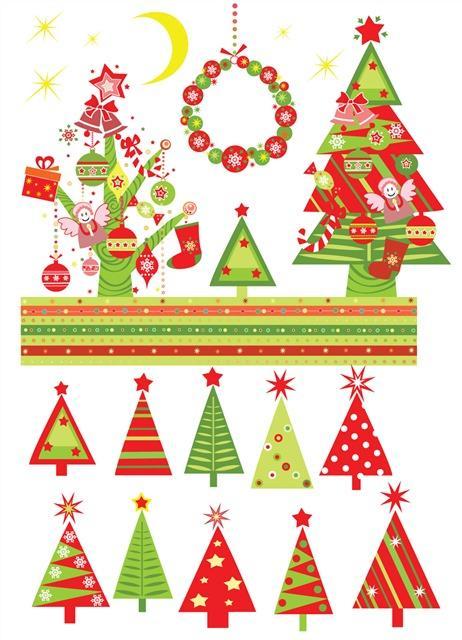 各种可爱卡通圣诞树元素