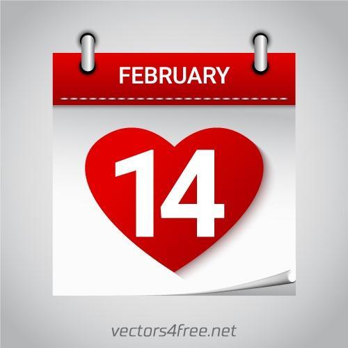 情人节心形图标日历卡