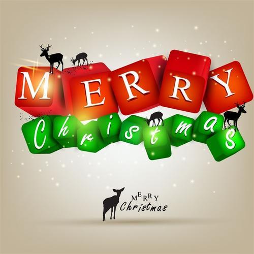圣诞快乐英文艺术字背景