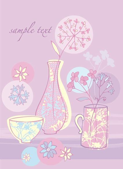 小清新手绘花朵背景图片