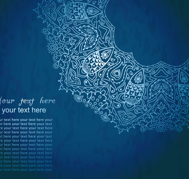 蓝色花纹背景图