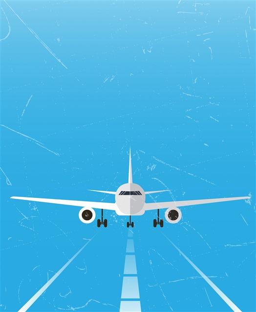 蓝色背景飞机插图